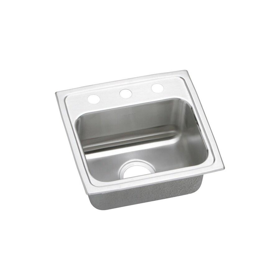 Elkay Lustertone 17-in x 16-in Stainless Steel Single-Basin Drop-In 2-Hole Commercial/Residential Kitchen Sink