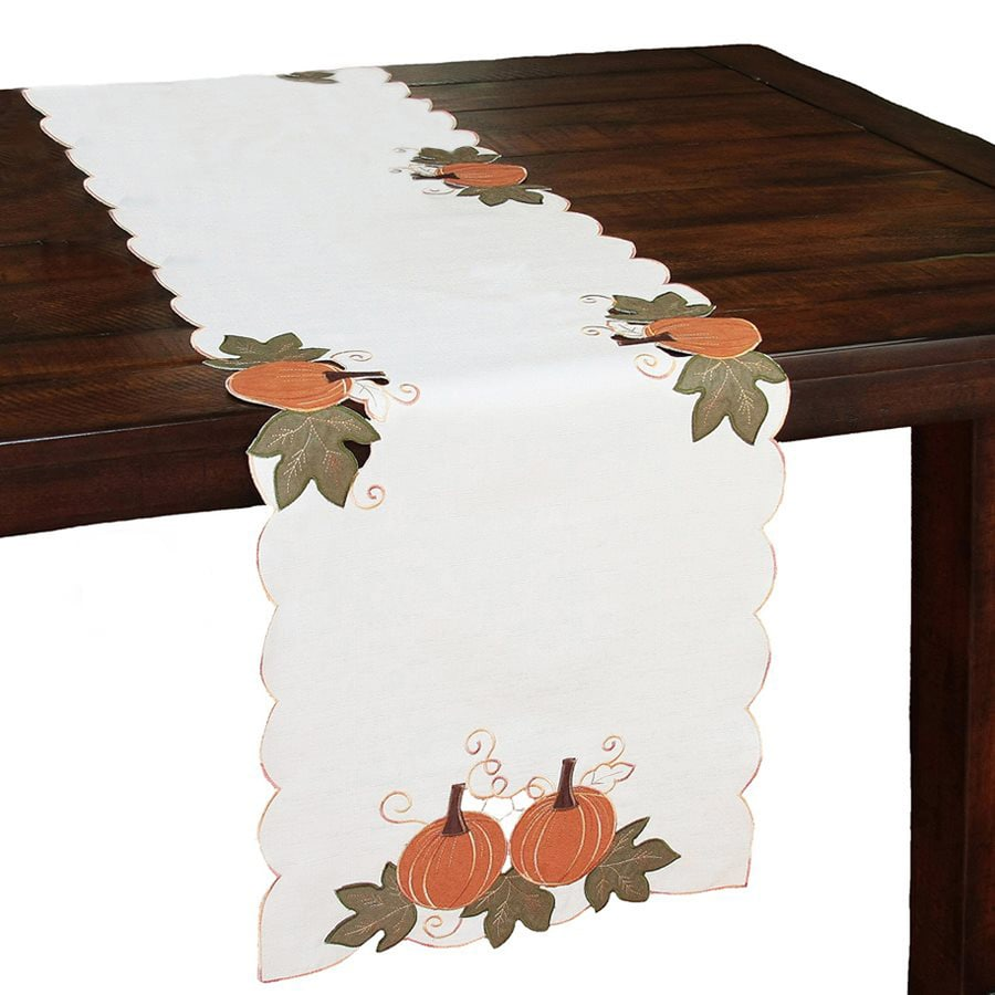 XIA Home Fashions Pumpkin Table Runner Indoor Thanksgiving Decoration