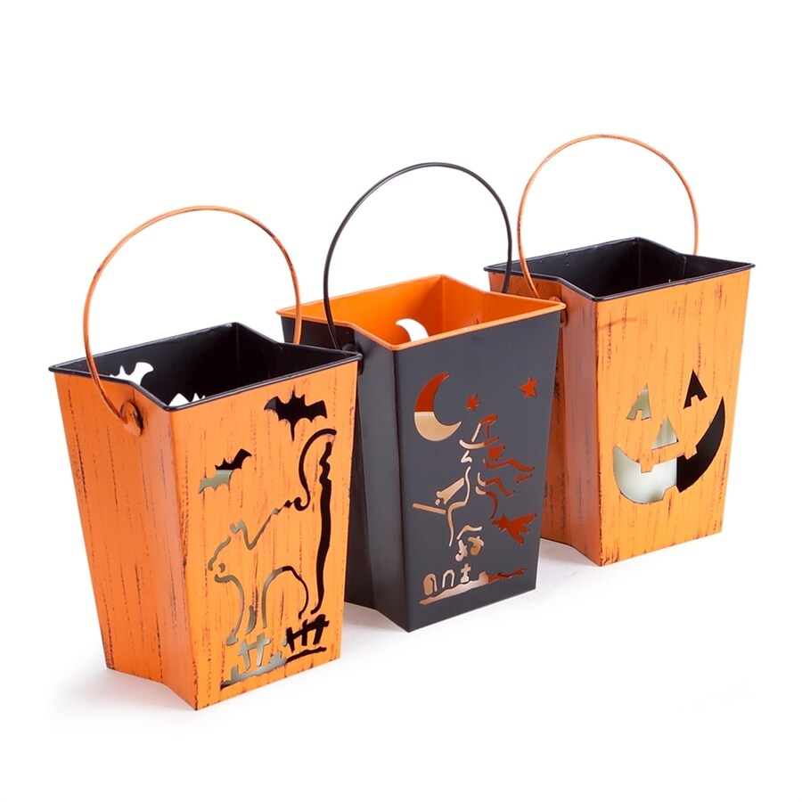 Melrose International Set of 3 Happy Halloween Lanterns with Flickering White LEDs