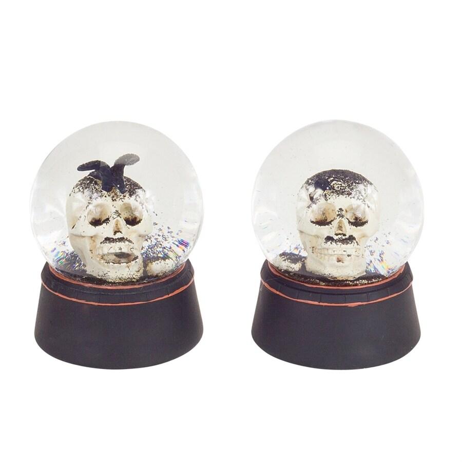 Melrose International Set of 2 Halloween Skull Glitter Globes