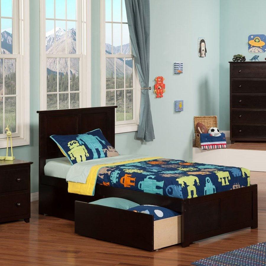 Atlantic Furniture Madison Espresso Twin Platform Bed With Storage