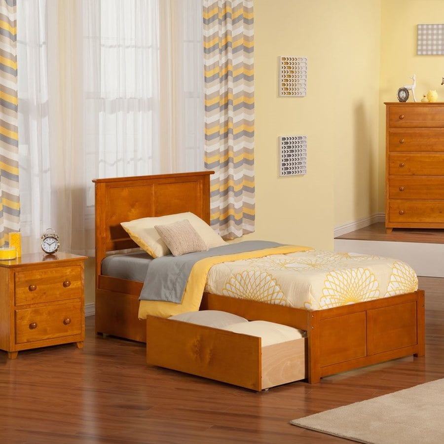 Atlantic Furniture Madison Caramel Latte Twin Platform Bed With Storage