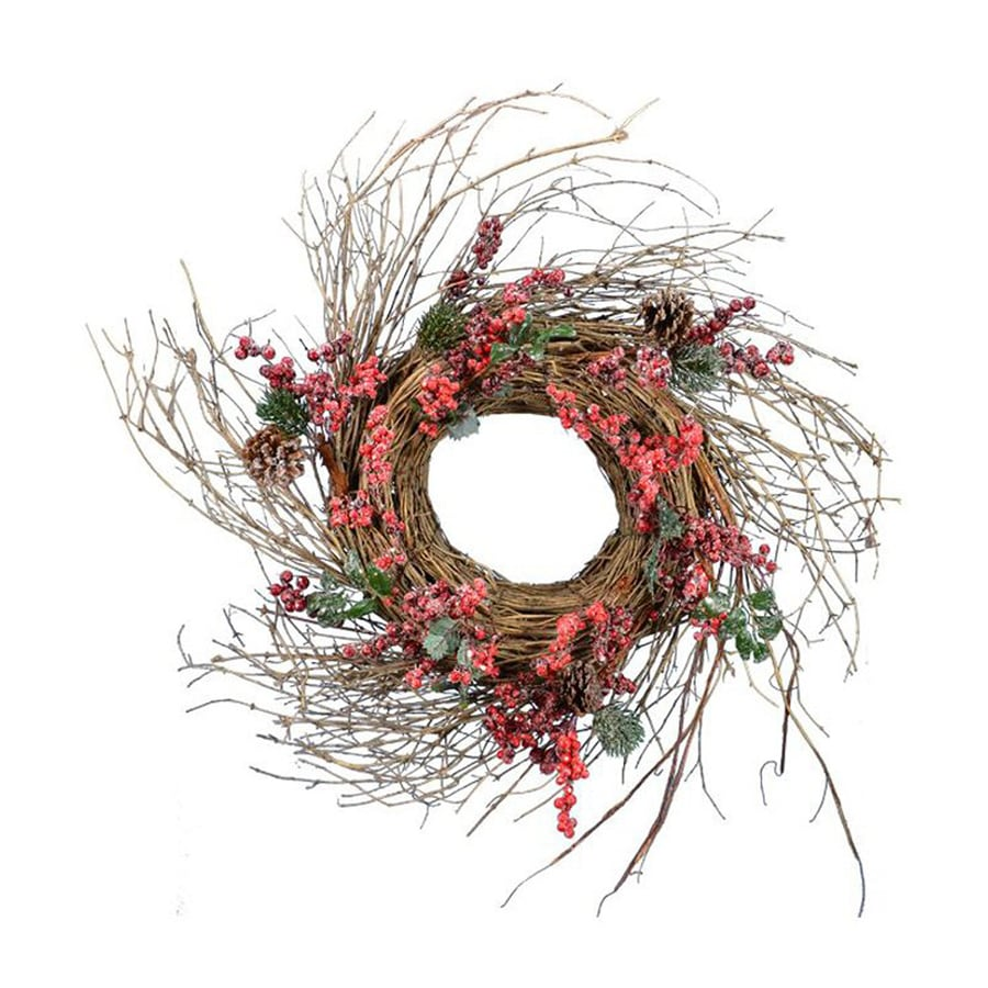 Fantastic Craft 26-in Berry Artificial Thanksgiving Wreath  Lights