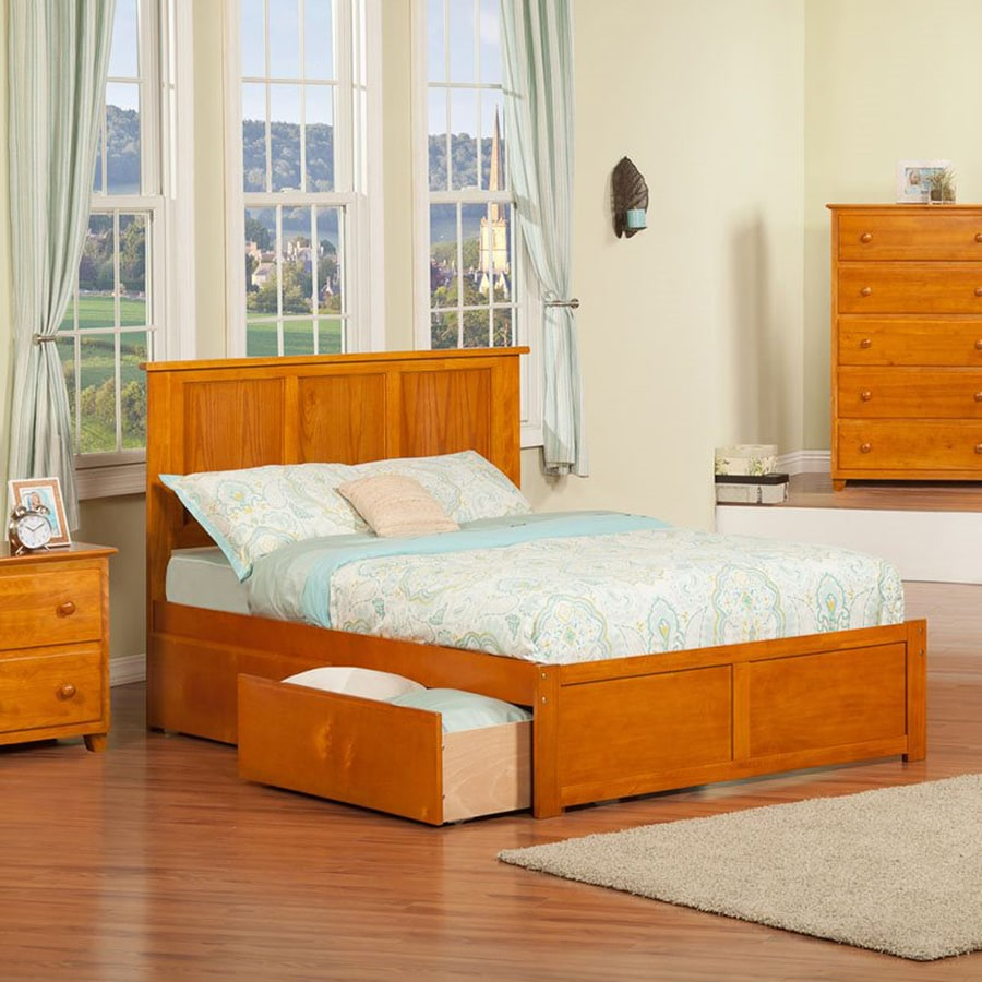 Atlantic Furniture Madison Caramel Latte Full Platform Bed With Storage