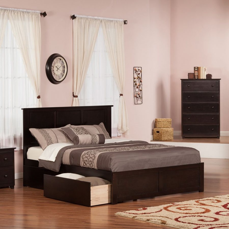 Atlantic Furniture Madison Espresso Queen Platform Bed With Storage