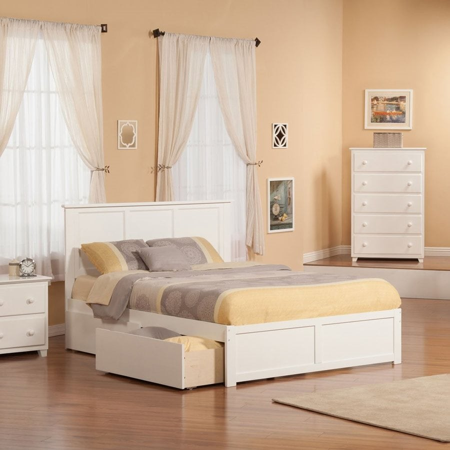 Atlantic Furniture Madison White Queen Platform Bed With Storage