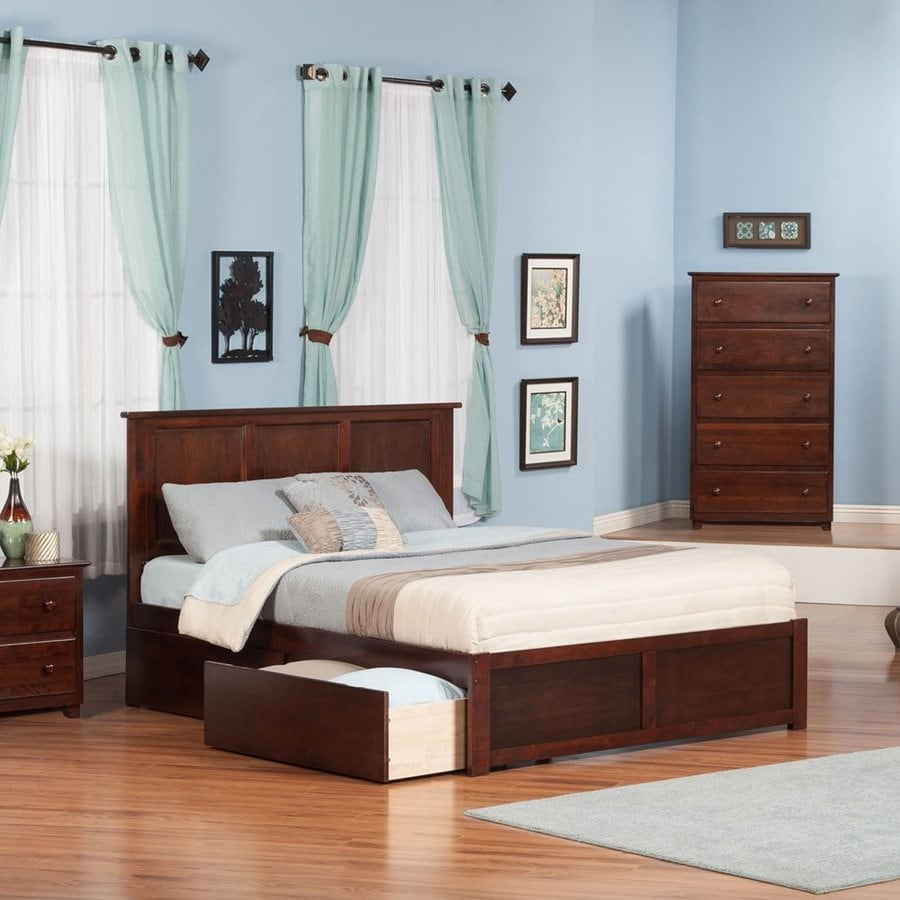 Atlantic Furniture Madison Antique Walnut Queen Platform Bed With Storage