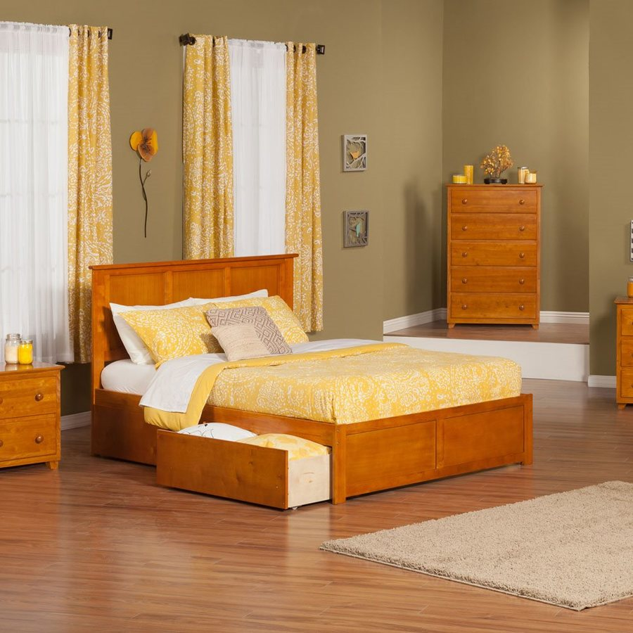 Atlantic Furniture Madison Caramel Latte Queen Platform Bed With Storage