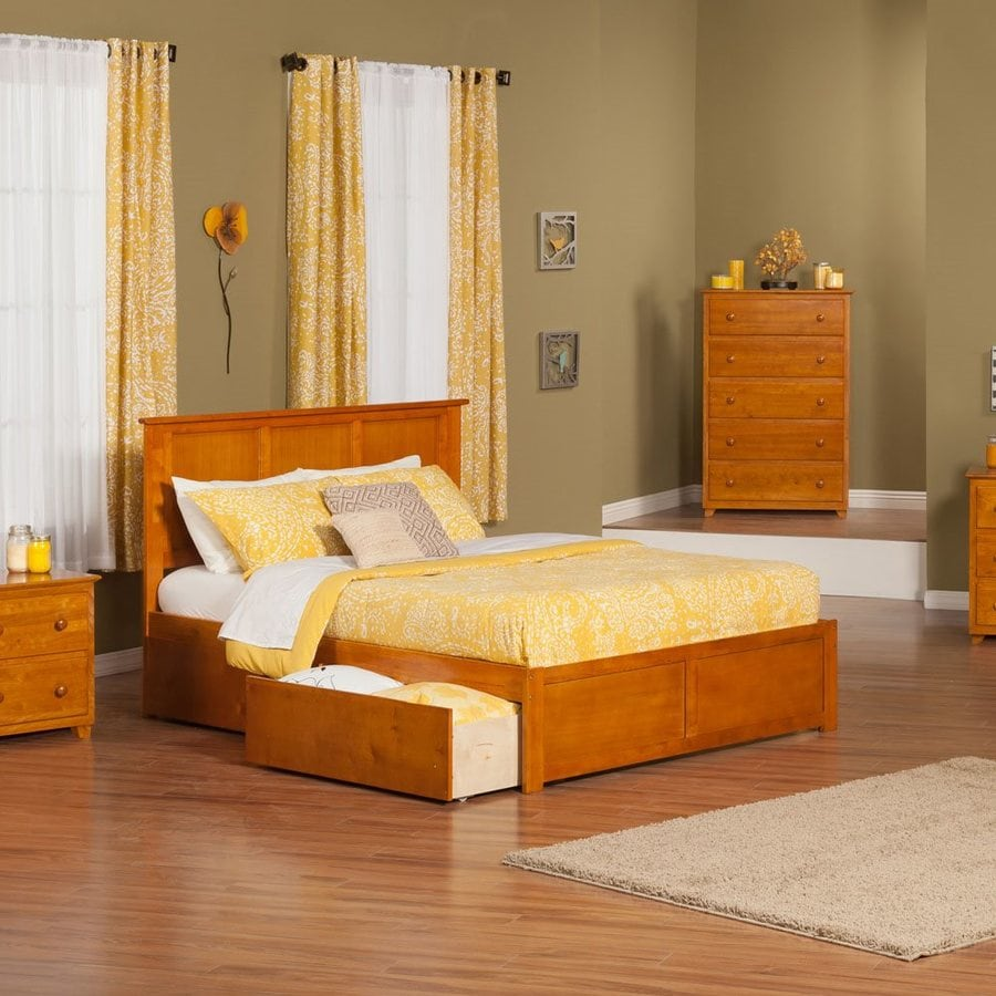 Atlantic Furniture Madison Caramel Latte King Platform Bed With Storage