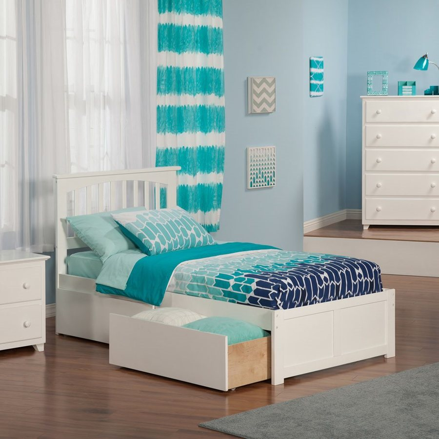 Atlantic Furniture Mission White Twin Xl Platform Bed With Storage