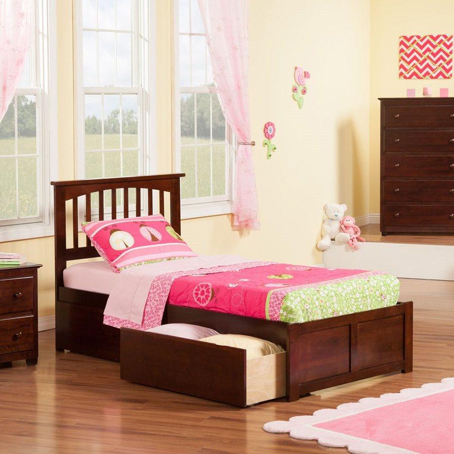 Atlantic Furniture Mission Antique Walnut Twin Xl Platform Bed With Storage