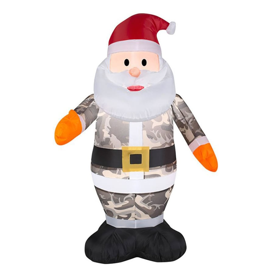 J. Marcus 2-ft 8-in x 2-ft Lighted Camo Santa Christmas Inflatable
