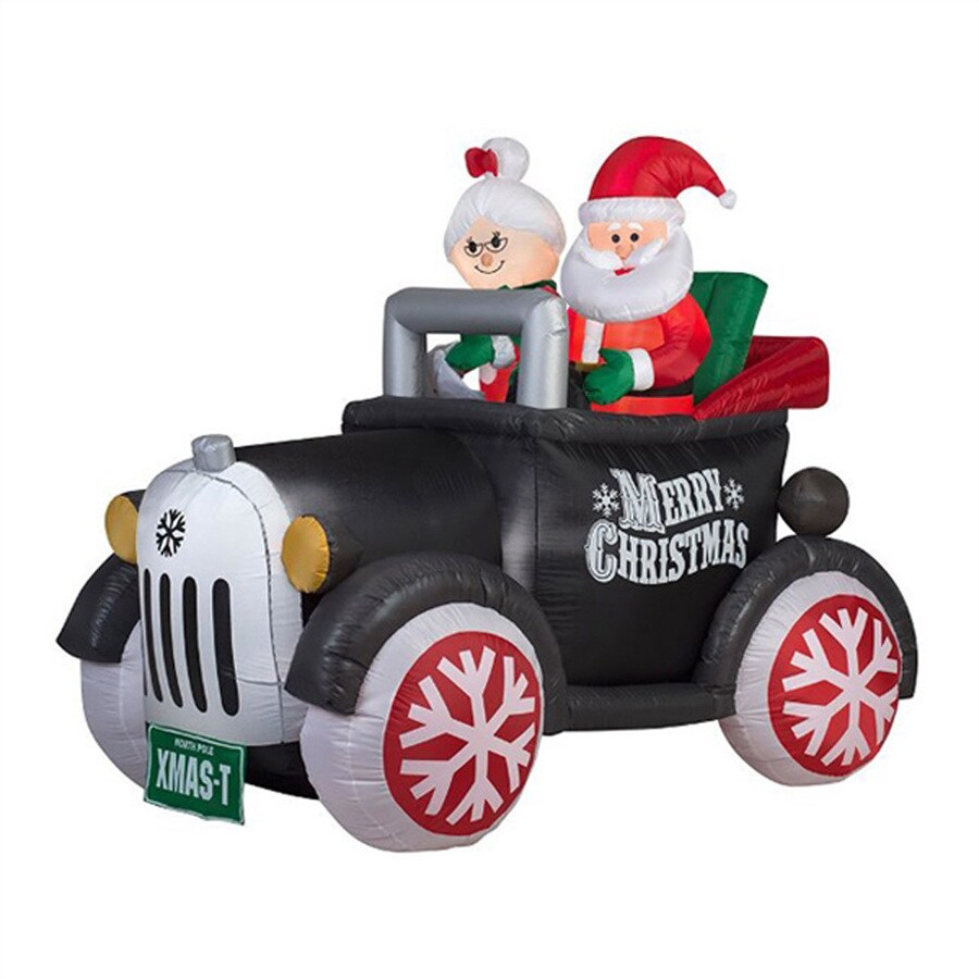 J. Marcus 5-ft x 5-ft 6-in Lighted Antique Car Santa Christmas Inflatable
