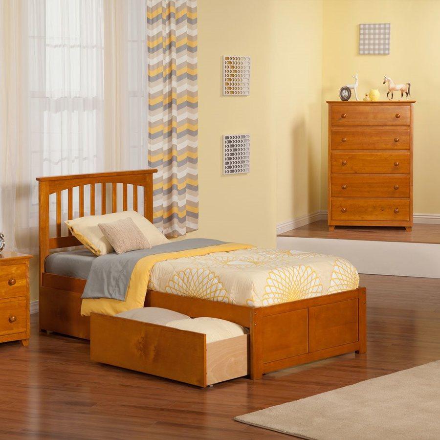 Atlantic Furniture Mission Caramel Latte Twin Platform Bed With Storage