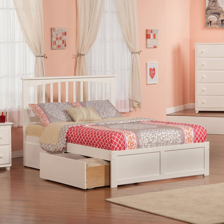 Atlantic Furniture Mission White Full Platform Bed With Storage