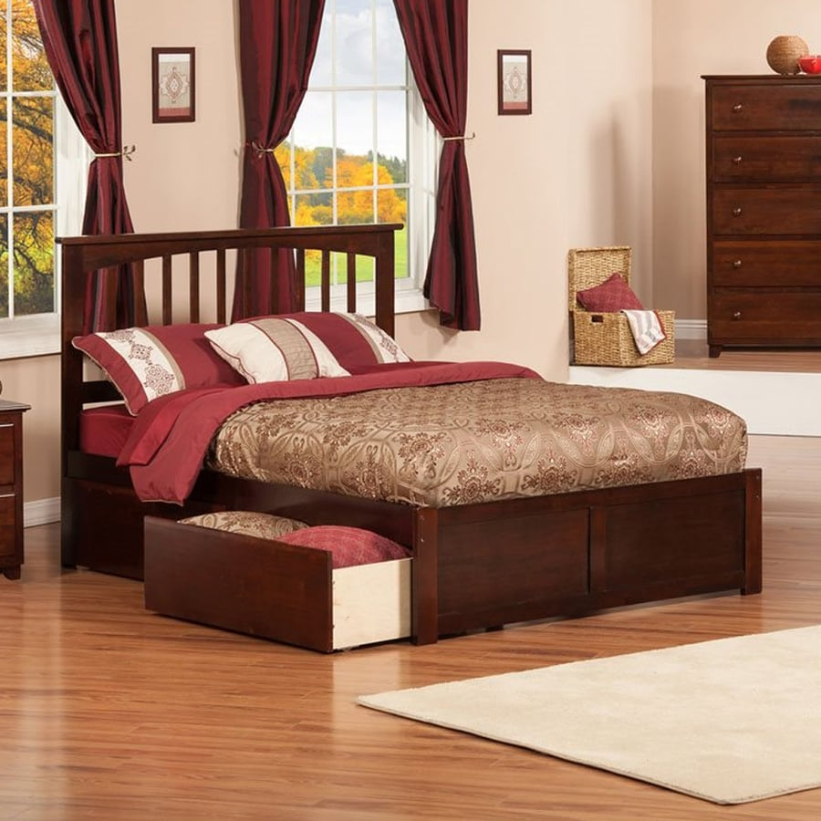 Atlantic Furniture Mission Antique Walnut Full Platform Bed With Storage