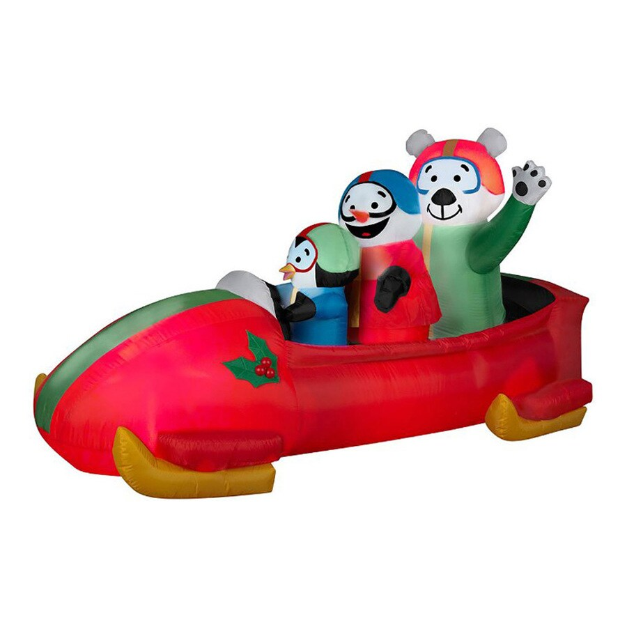 J. Marcus 3-ft 6-in x 6-ft 11-in Animatronic Lighted Bobsled Christmas Inflatable