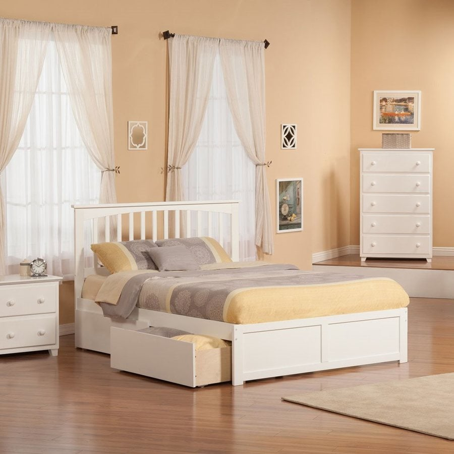 Atlantic Furniture Mission White Queen Platform Bed With Storage