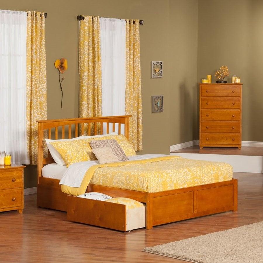 Atlantic Furniture Mission Caramel Latte Queen Platform Bed With Storage