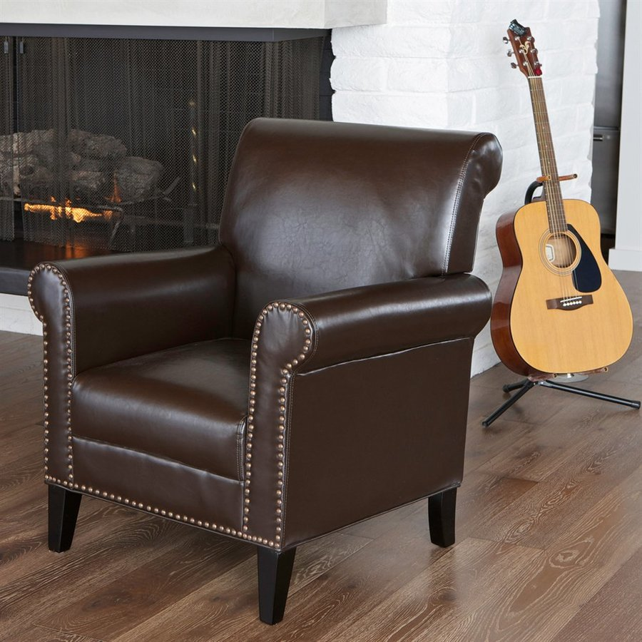 Best Selling Home Decor Richard Casual Chocolate Brown Faux Leather Club Chair