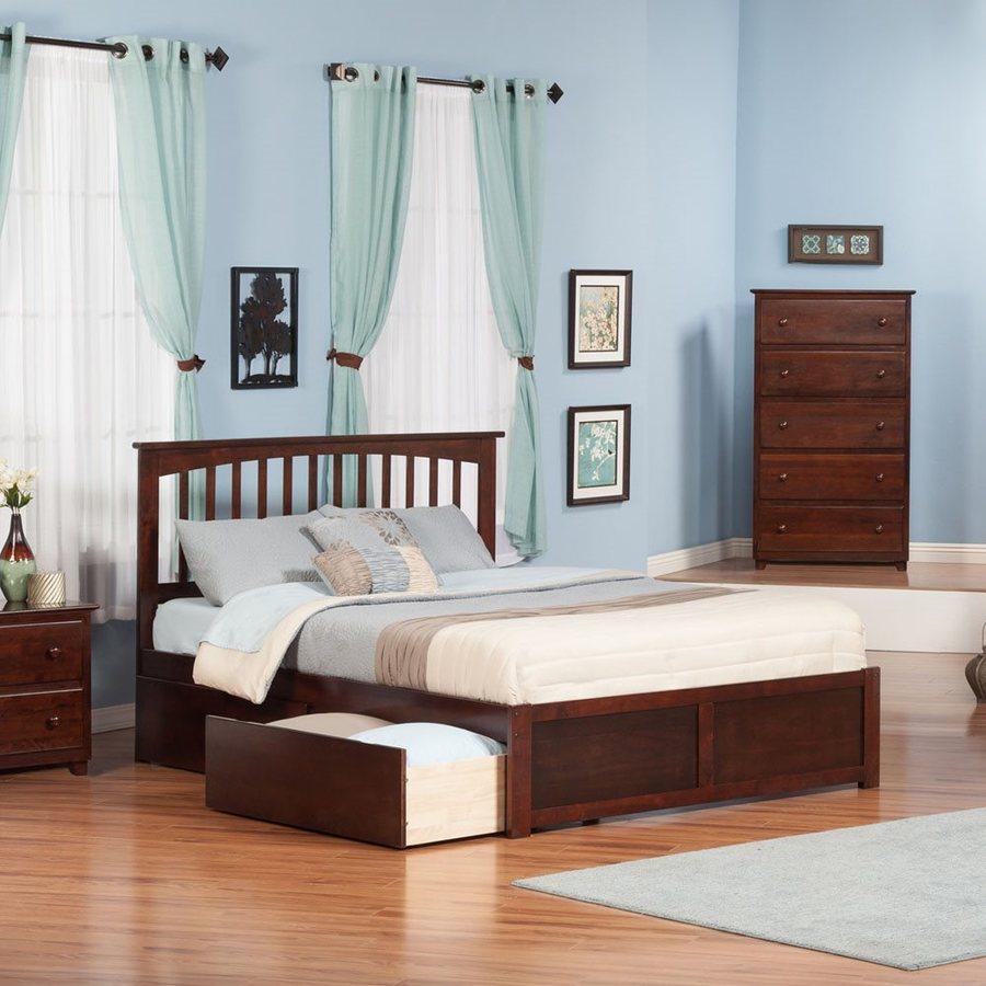 Atlantic Furniture Mission Antique Walnut King Platform Bed With Storage