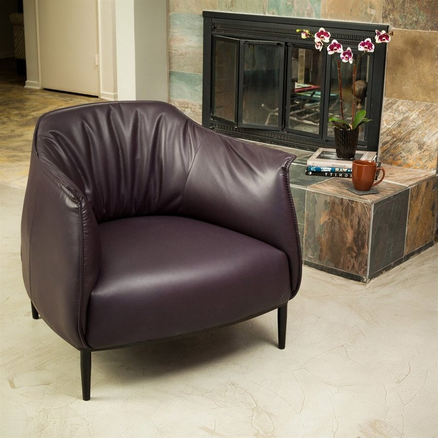 Best Selling Home Decor Roosevelt Midcentury Vicenza Purple Faux Leather Accent Chair