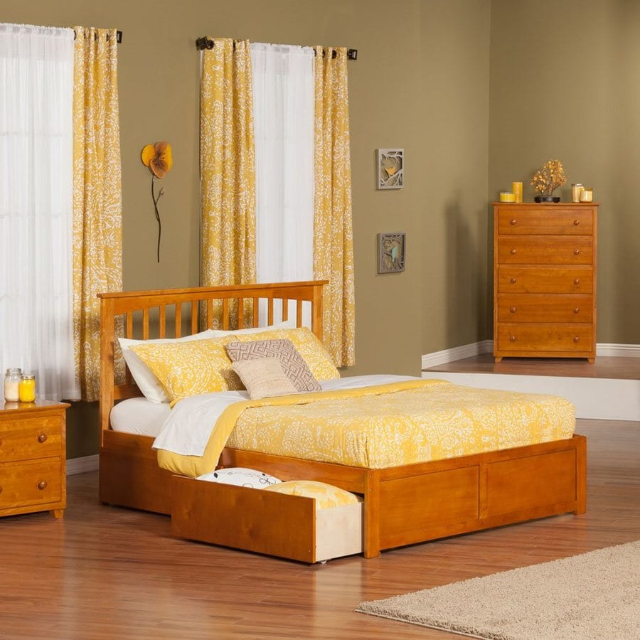 Atlantic Furniture Mission Caramel Latte King Platform Bed With Storage