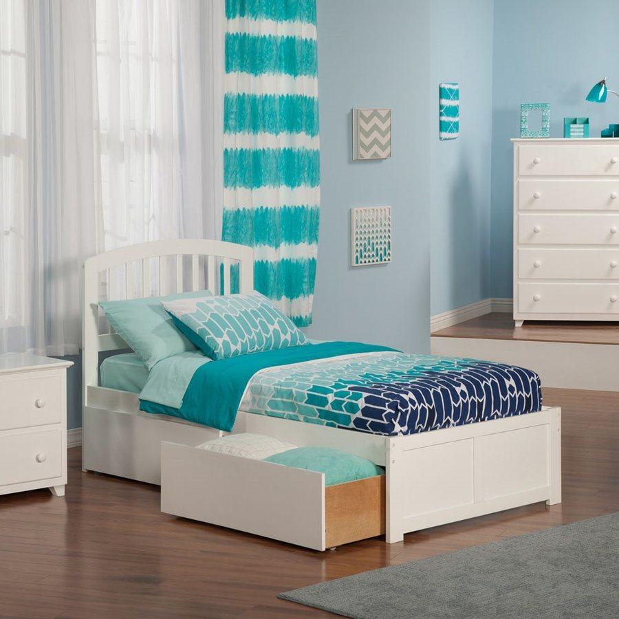 Atlantic Furniture Richmond White Twin Platform Bed With Storage