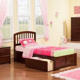 Atlantic Furniture Richmond Antique Walnut Twin Platform Bed With Storage