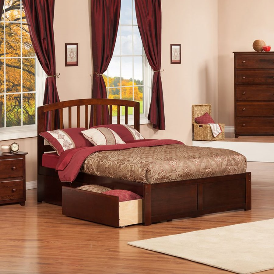 Atlantic Furniture Richmond Antique Walnut Full Platform Bed With Storage