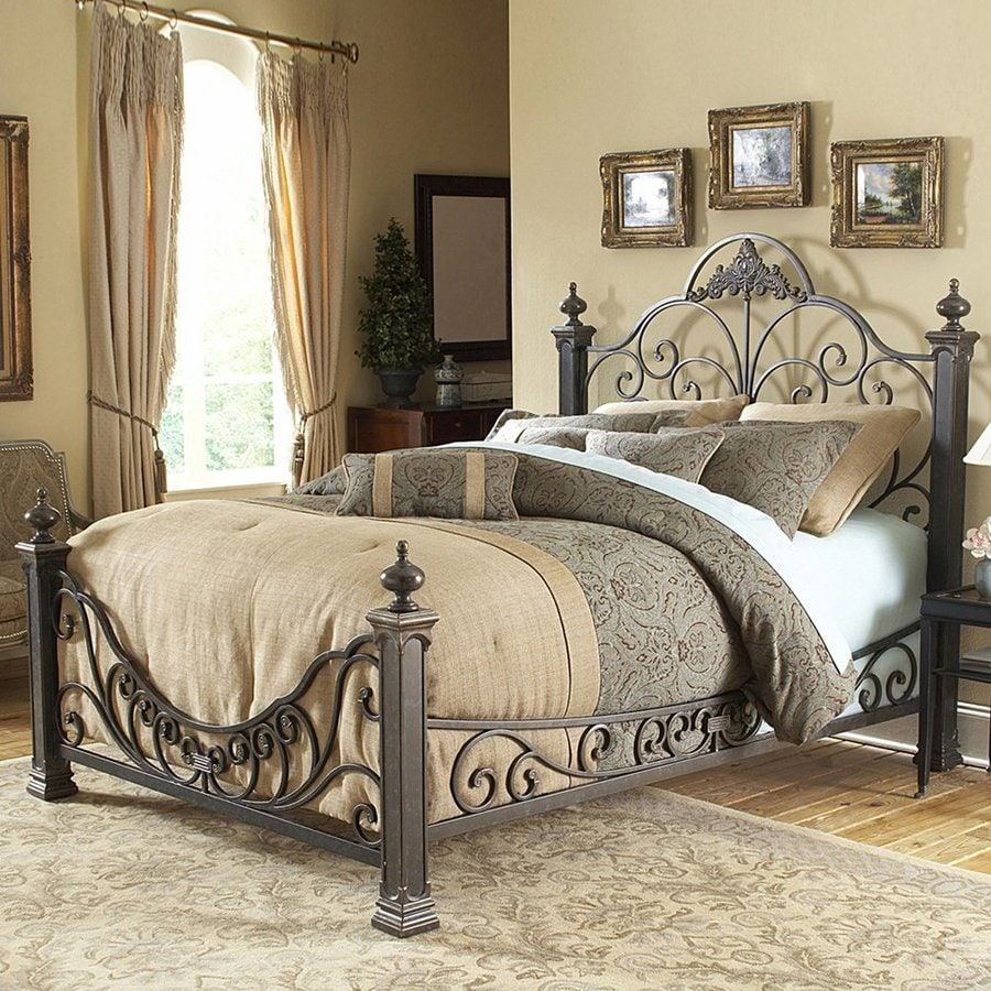 Fashion Bed Group Baroque Gilded Slate Queen 4-Poster Bed
