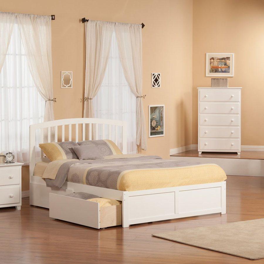 Atlantic furniture richmond white queen platform bed with - White queen platform bedroom set ...