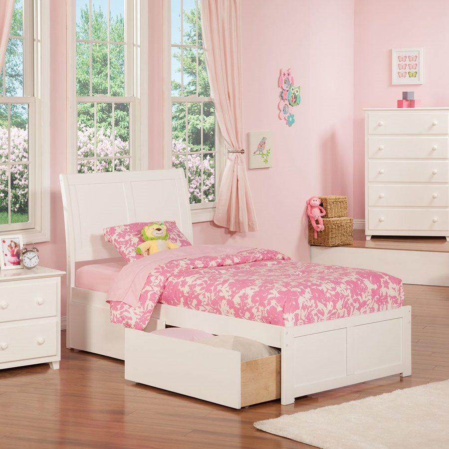 Atlantic Furniture Portland White Twin Platform Bed With Storage