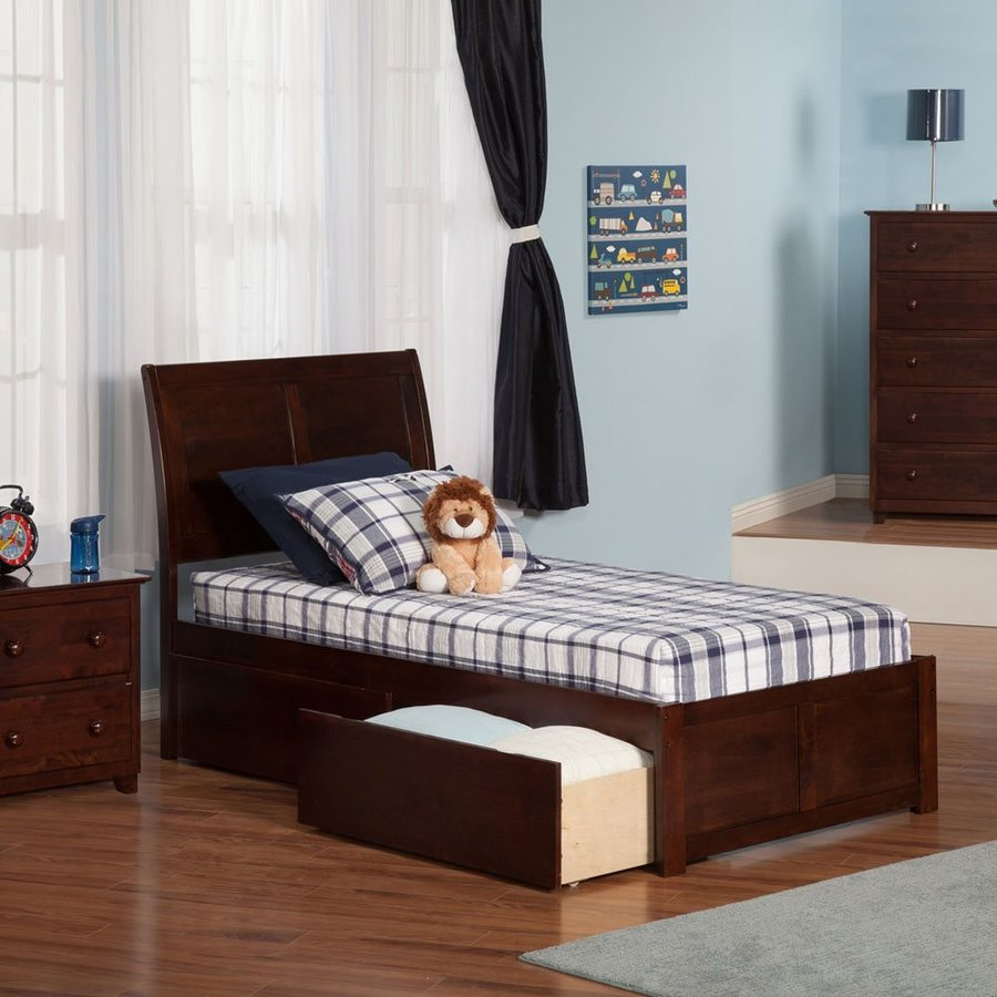 Atlantic Furniture Portland Antique Walnut Twin Platform Bed With Storage