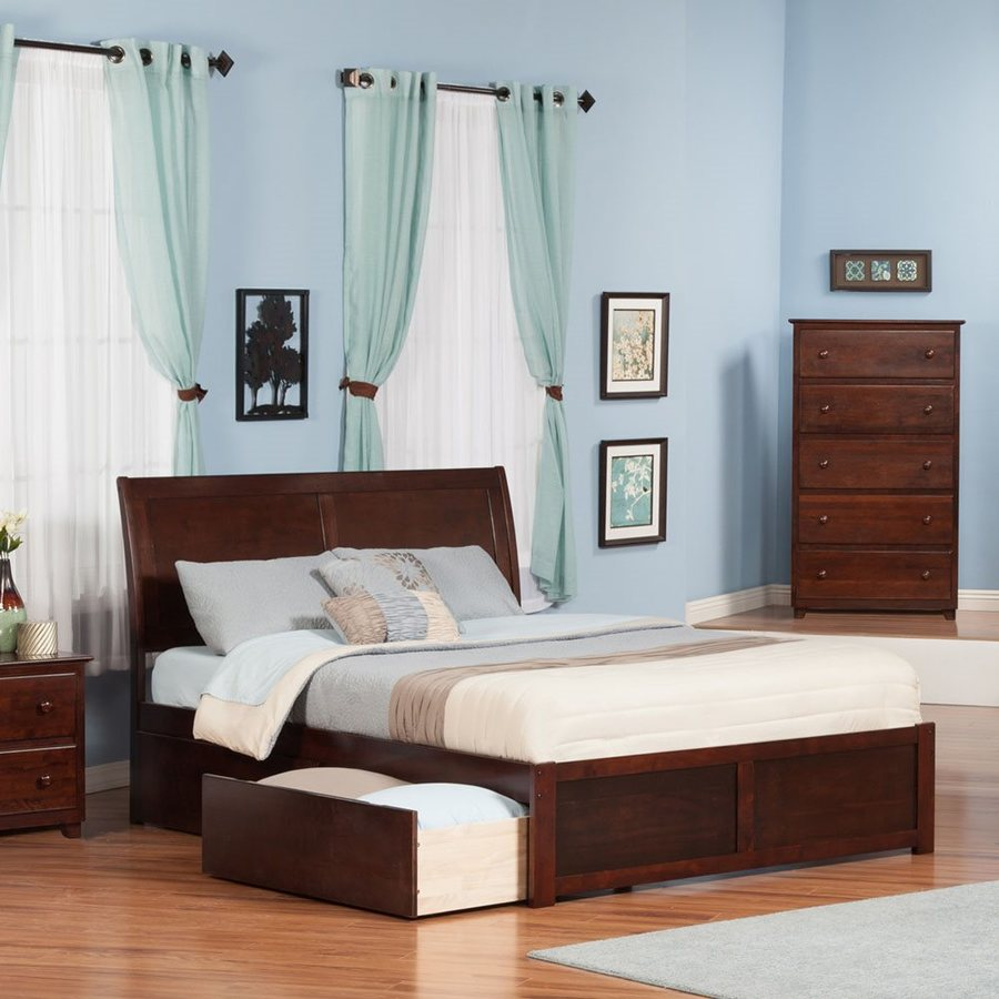 Atlantic Furniture Portland Antique Walnut King Platform Bed With Storage