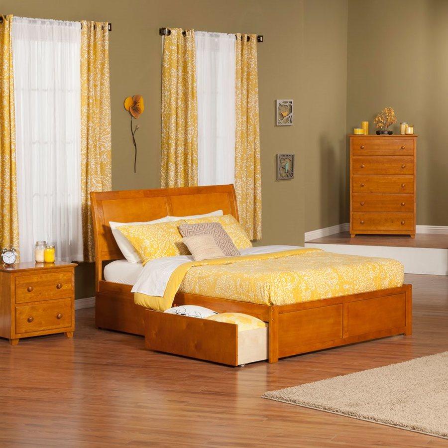 Atlantic Furniture Portland Caramel Latte King Platform Bed With Storage