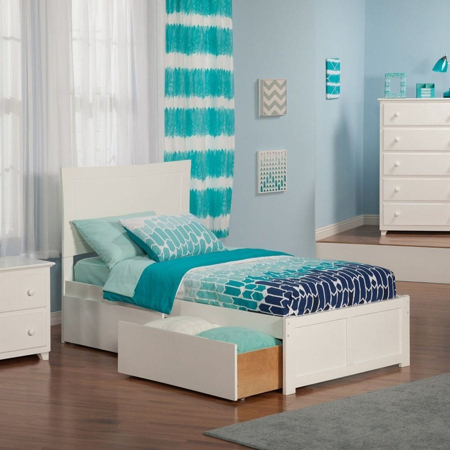 Atlantic Furniture Metro White Twin Platform Bed With Storage