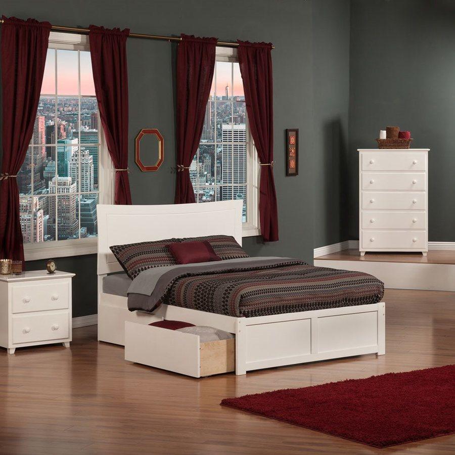Atlantic Furniture Metro White Full Platform Bed With Storage