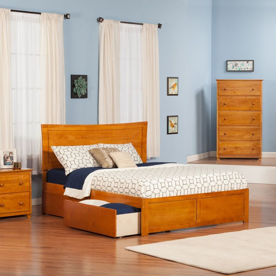 Atlantic Furniture Metro Caramel Latte Queen Platform Bed With Storage