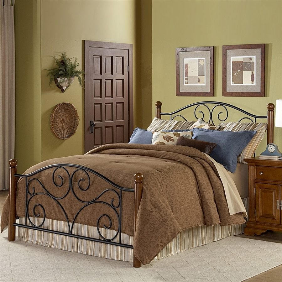 Fashion Bed Group Doral Matte Black/Walnut Queen 4-Poster Bed
