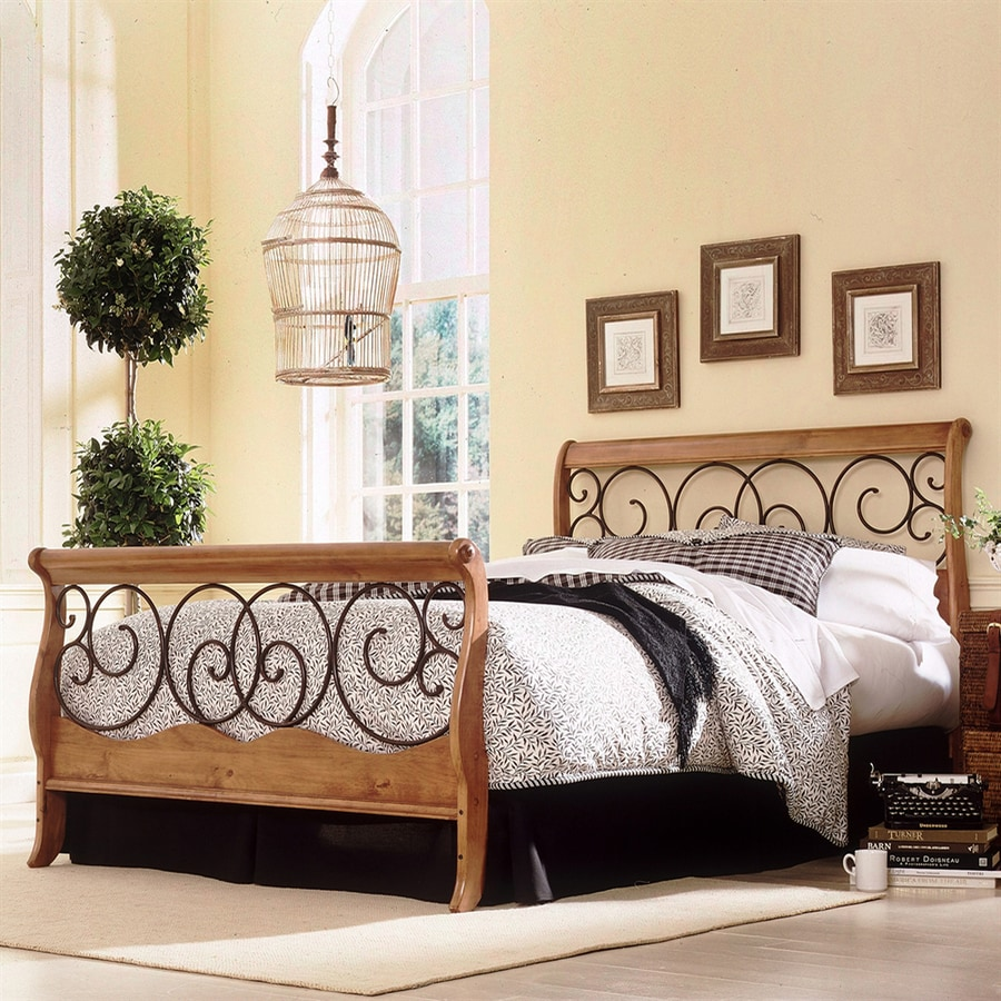 Fashion Bed Group Dunhill Autumn Brown/Honey Oak King Sleigh Bed