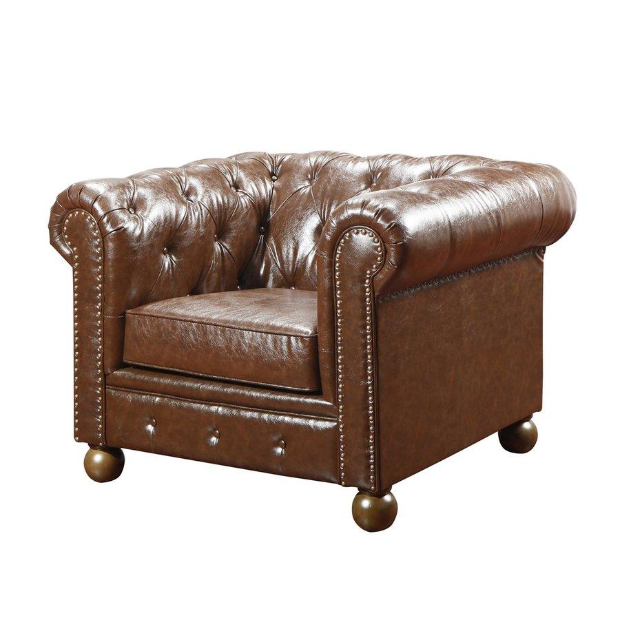 Armen Living Winston Midcentury Mocha Faux Leather Club Chair