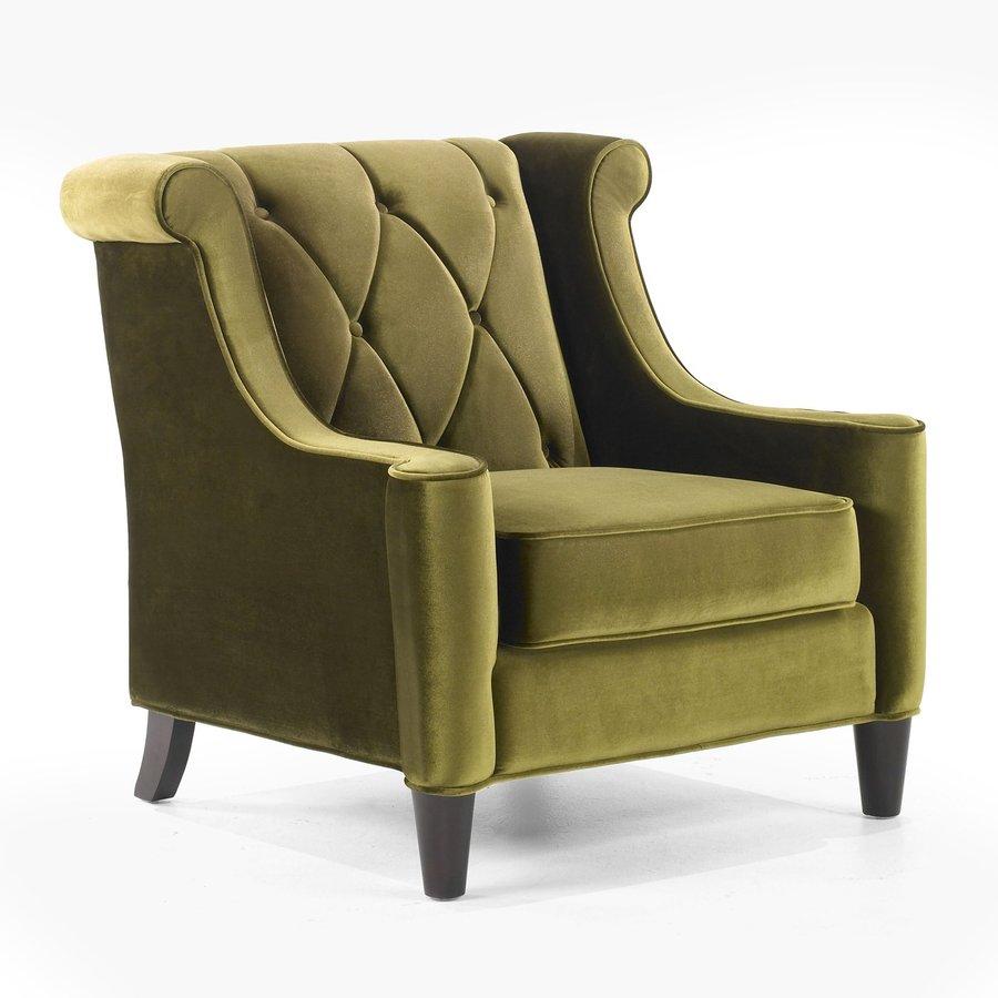 Armen Living Barrister Modern Green Polyester Accent Chair
