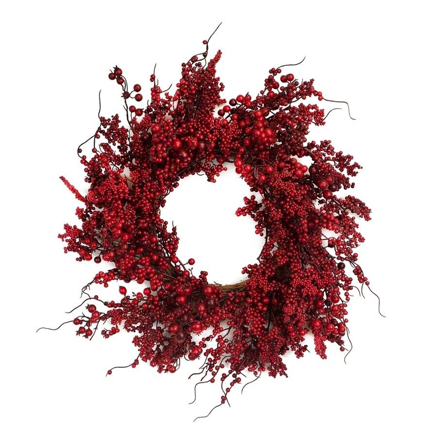 Melrose International 22-in Berry Artificial Thanksgiving Wreath  Lights