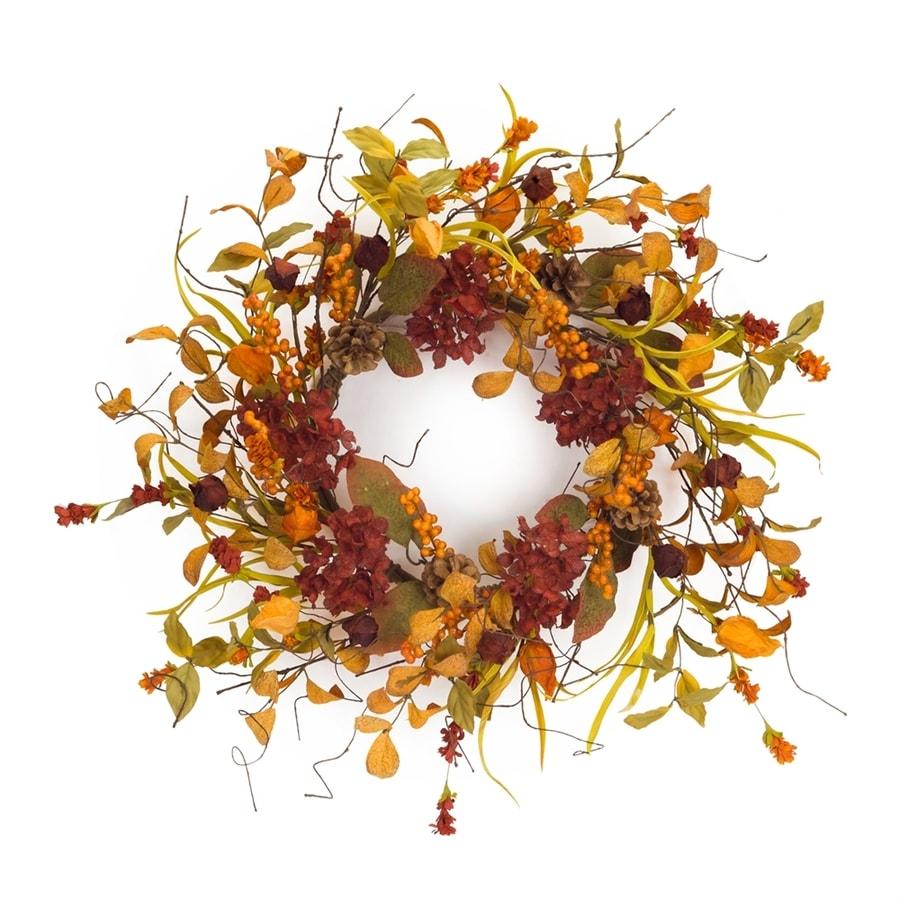 Melrose International 26-in Orange/Burgundy Wildflower and Berry Artificial Thanksgiving Wreath