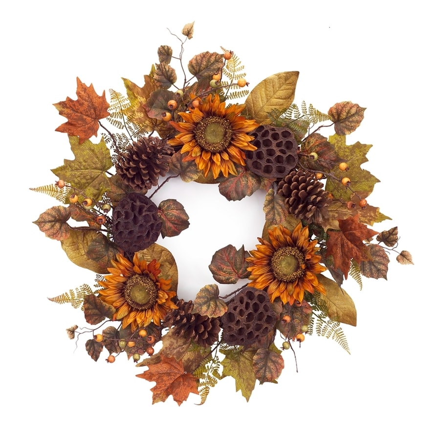 Melrose International 22-in Orange/Brown Sunflower and Pinecone Artificial Thanksgiving Wreath