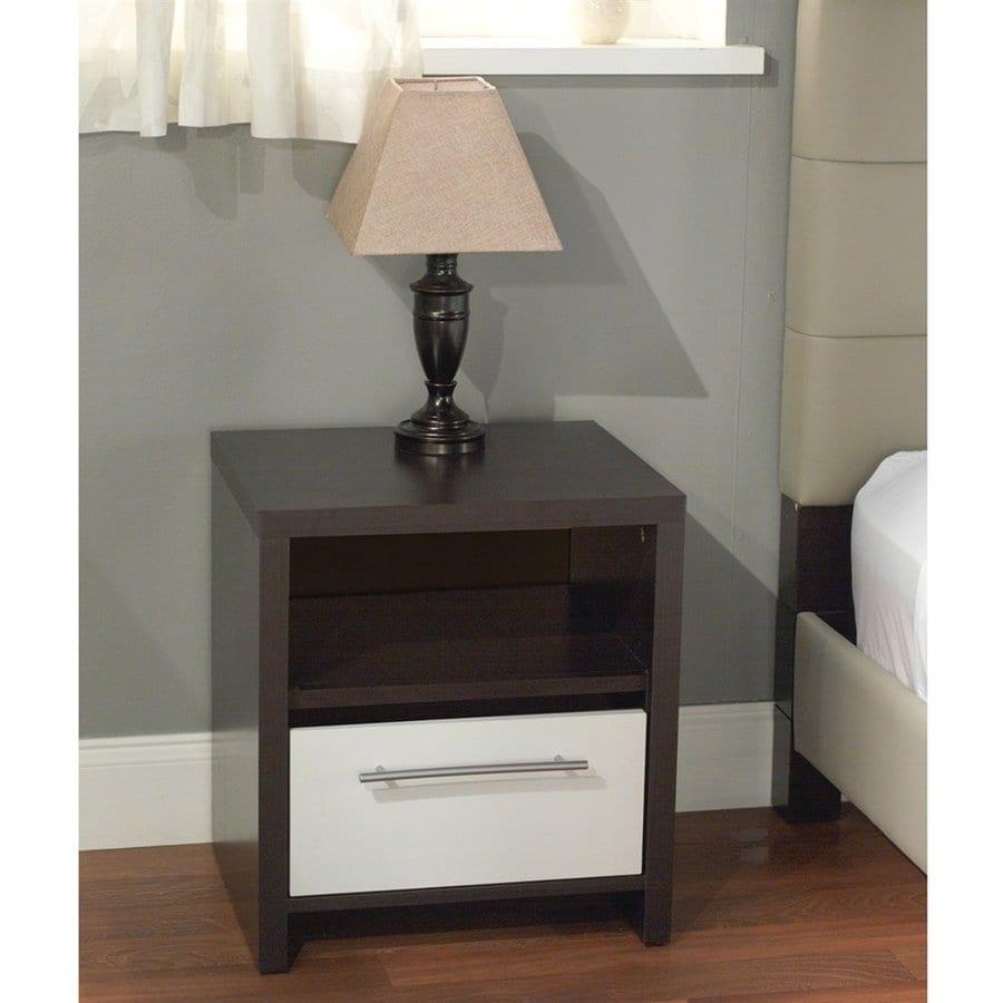TMS Furniture White And Espresso Nightstand