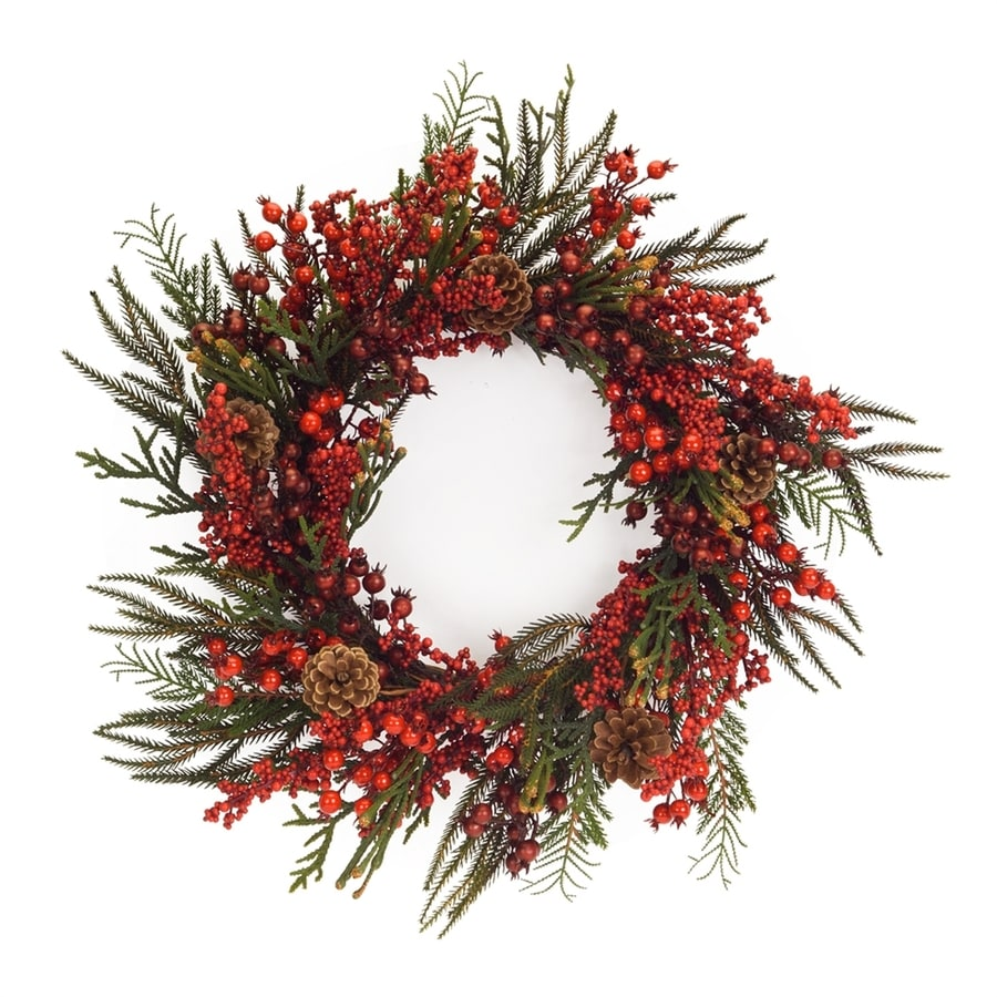 Melrose International 25-in Red/Green Winter Berry and Pinecone Artificial Thanksgiving Wreath