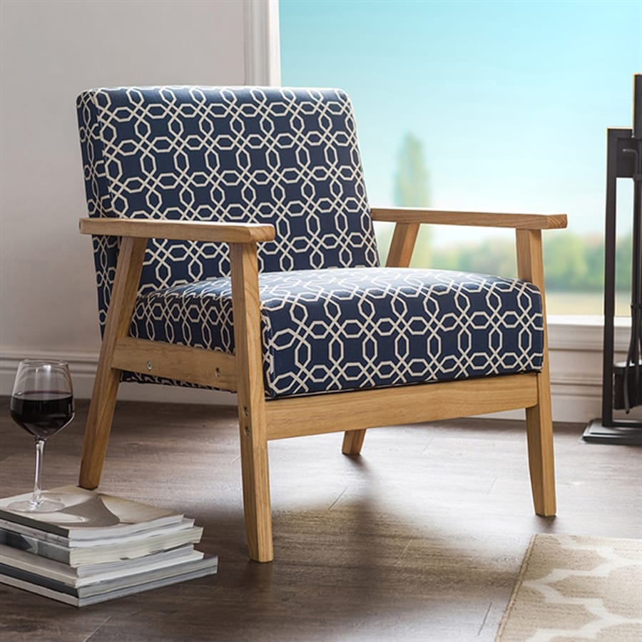 Baxton Studio Francis Midcentury Navy Blue Polyester Accent Chair