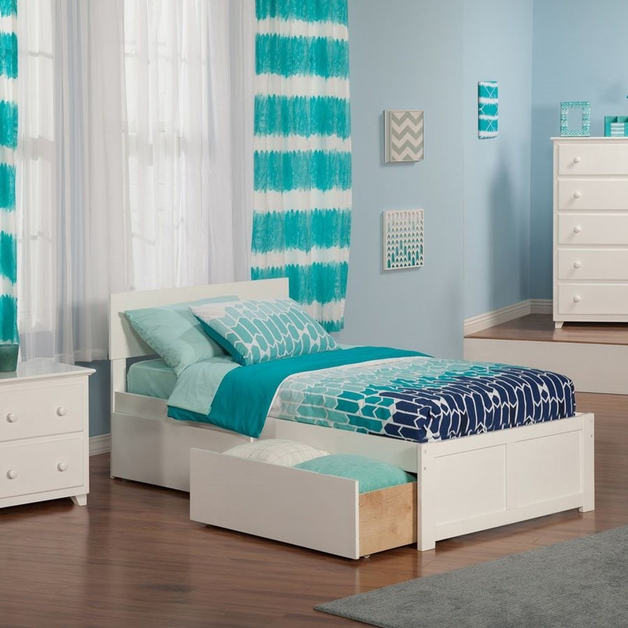 Atlantic Furniture Orlando White Twin Platform Bed With Storage